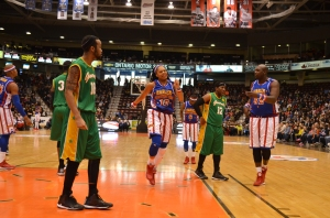 Sweet J, the Globetrotters guard, dancing onto the court.